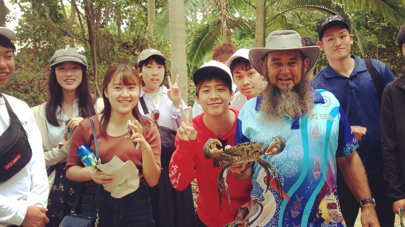 Group of students on foraging tour with an indigenous guide
