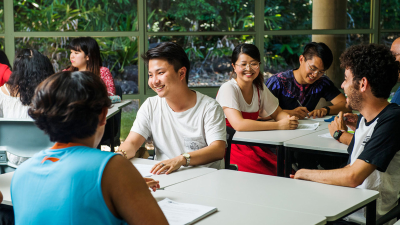 Group of international students in class setting