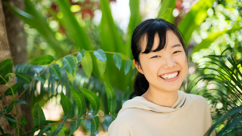 SCU English College student Natsumi Hakai at the Learning Centre on the Lismore campus