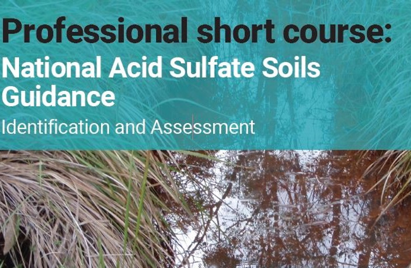 An image of the front cover of the professional acid sulfate soil short course flyer
