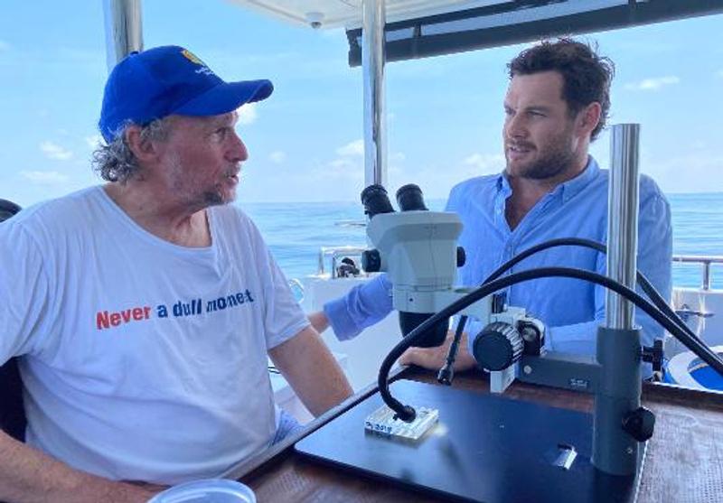 Reef Live presenter Lucas Handley with Professor Peter Harrison