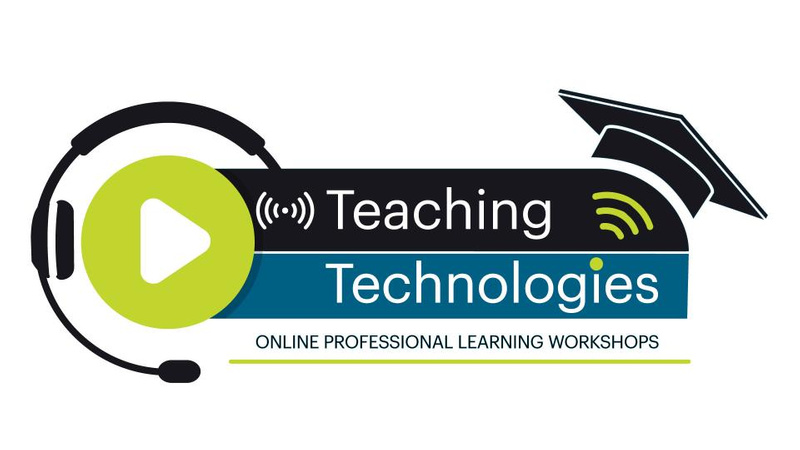 headset play button and mortar board all with Teaching Technologies Online Professional Workshops text