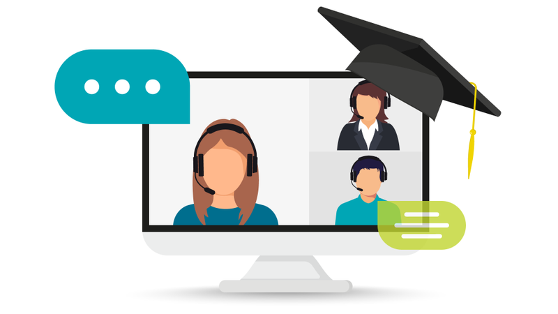 computer monitor showing teacher and students chatting with mortar board hanging on the corner