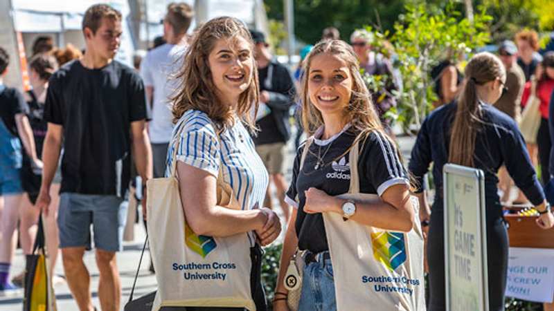 Female high school students visiting Open Day